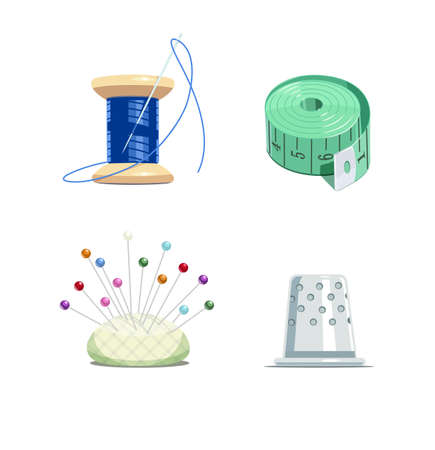 tapeline: Sewing tools. Thread bobbin with needle, tape-measure, pillow and thimble for needlework. Equipment for fancywork. Isolated white background. Set of Eps10 vector illustration. Illustration