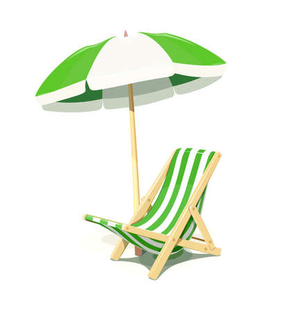 Beach chair and umbrella for summer rest, isolated white background. Eps10 vector illustration. Çizim