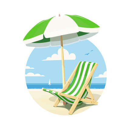 wood chair: Beach chair and umbrella for summer rest, isolated white background. Vector illustration.