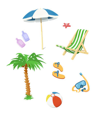 Summer time accessory. Flip flops, umbrella, chair, cream for beach. Vector illustration.