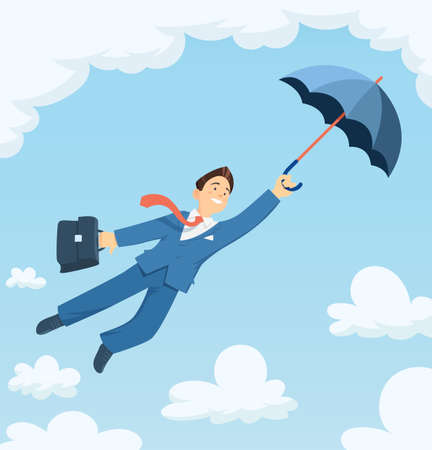 Businessman flying with umbrella in sky. Successful business. Career progress. Isolated white background. Eps10 vector illustration.