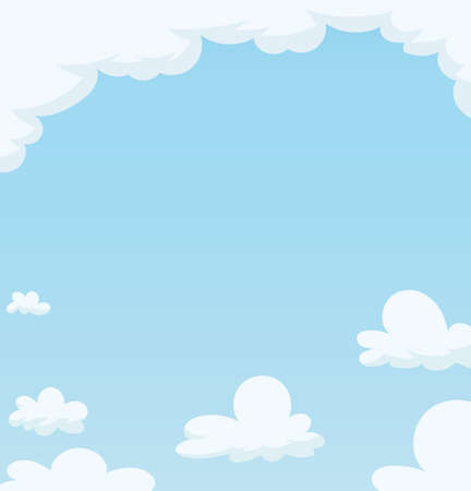 Blue Sky with cloud. Cartoon background. Eps10 vector illustration.