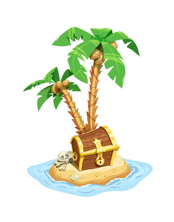Pirates treasure island with chest and coconut palms. Save case with riches. Isolated white background. Eps10 vector illustration.