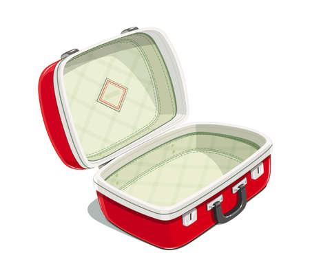 Red open suitcase for travel. Voyage case. Journey bag. Accessories for packing clothes. Isolated white background. Eps10 vector illustration. Vectores
