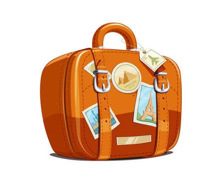 Koffer voor reizen met stickers. Toeristische bagage. Vintage leren tas. Vakantietoebehoren geïsoleerde witte achtergrond. Eps10 vector illustratie.