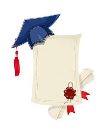 Tappo di laurea accademico blu con diploma in bianco e scorrimento. Cerimonia degli studenti. Scuola, università, università. Simbolo dell'educazione. Sfondo bianco isolato. Eps10 illustrazione vettoriale. Archivio Fotografico - 80052024