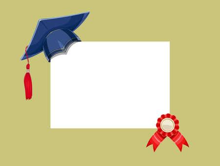 졸업장 메달과 블루 academicic 졸업 모자입니다. 학교, 대학, 대학을 마칠 수 있습니다. 교육 기호입니다. Eps10 벡터 일러스트 레이션
