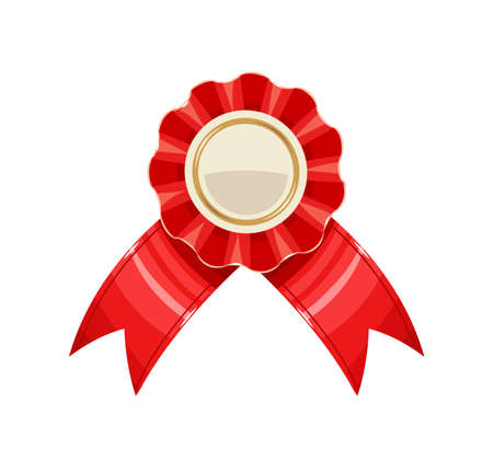 Award medal with red ribbon, isolated white background. Eps10 vector illustration.