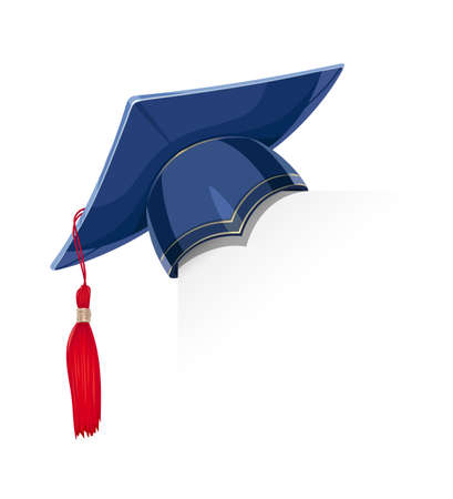 Blue academicic graduation cap paper corner. Students ceremony. Finish school, college, university. Education symbol. Isolated white background. Eps10 vector illustration.