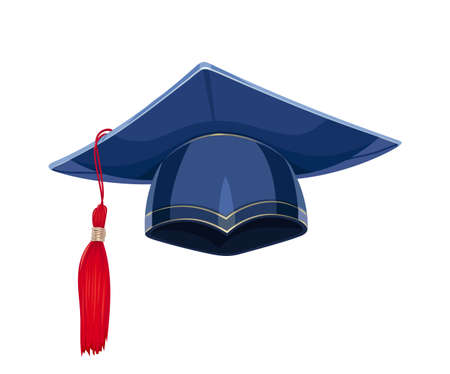 Blue academicic graduation cap. Students ceremony. Finish school, college, university. Education symbol. Isolated white background. Eps10 vector illustration.