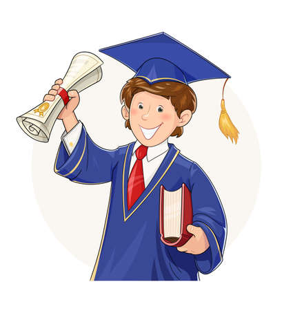Student in graduate suit with diploma and book. School, college, university Education. Cartoon character in scientist costume. Isolated white background. Academic learning.