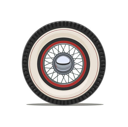 Vintage car wheel with spoke, isolated white background. Eps10 vector illustration.