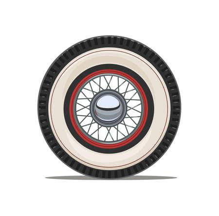 Vintage auto wiel met spaak, geïsoleerde witte achtergrond. Eps10 vector illustratie.