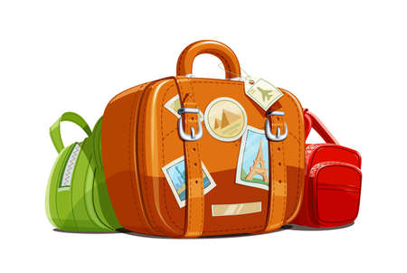 Koffer en tas voor reizen met stickers. Toeristische bagage. Vintage lederen tas. Vakantietoebehoren geïsoleerde witte achtergrond. Eps10 vector illustratie.