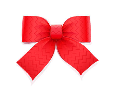 Red bow. Decorative element for gift. Isolated white background. Eps10 vector illustration.