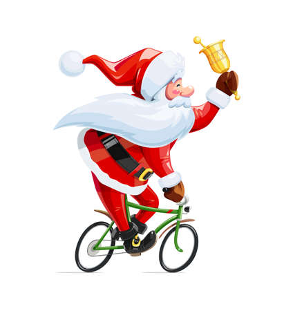Santa claus with bell at bicycle. Christmas cartoon character. Old-man drive cycle to new year celebration. Winter holiday.