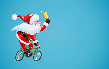 Santa claus with bell at bicycle. Christmas cartoon character. Old-man drive cycle to new year celebration. Winter holiday. Eps10 vector illustration. Vettoriali