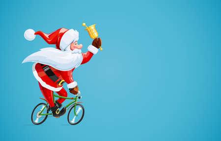 Kerstman met bell op fiets. Kerst stripfiguur. Ouderdomsdrijfcyclus tot nieuwe jaarviering. Winter vakantie. Eps10 vector illustratie.