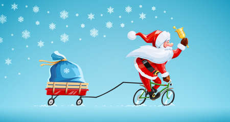Santa claus with bell at bicycle. Christmas cartoon character. Old-man drive cycle to new year celebration. Winter holiday. Gift sack on cart. Background with snow. Vector illustration.