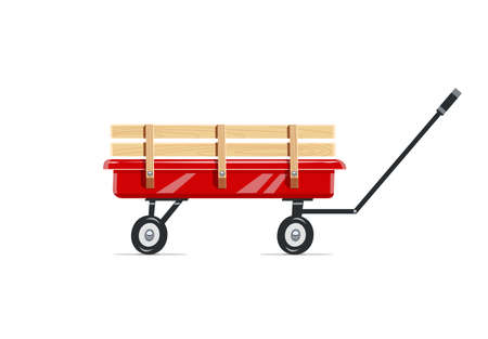 Cart. Childs toy. Agriculture tool. Housekeeping equipment. Isolated white background. Eps10 vector illustration.