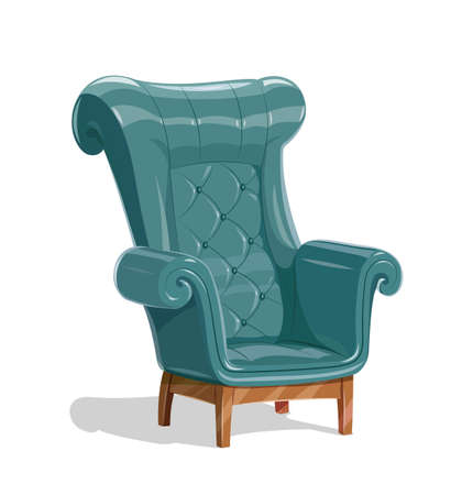 Big leather armchair. Vintage comfortable soft Furniture for relaxation. Isolated white background. Eps10 vector illustration.