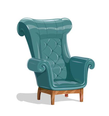Duży skórzany fotel. Vintage wygodne miękkie meble do wypoczynku. Na białym tle. Ilustracja wektorowa Eps10. Ilustracje wektorowe