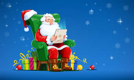 oldman: Santa claus sit in armchair with tablet. Christmas character with gift. Winter holiday. Isolated white background. Vector illustration.