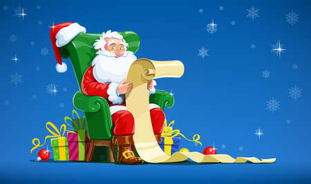 Santa claus sit in armchair and read letter. Christmas character with gift. Winter holiday. Isolated white background. Eps10 vector illustration. Ilustração