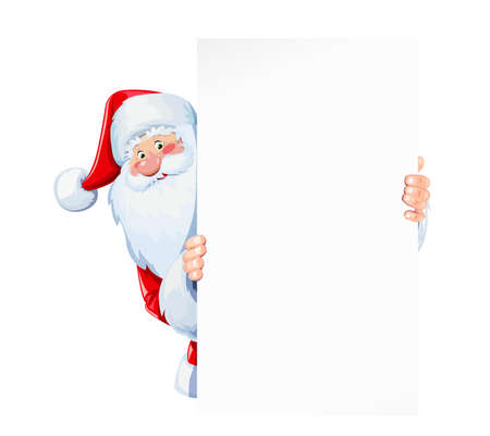 Santa Claus hold sheet of blank paper plate. Christmas cartoon character. Winter holiday. Isolated white background. Eps10 vector illustration.