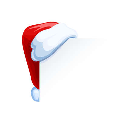 Santa Claus cap hang at corner. Christmas accessory. Isolated white background. Eps10 vector illustration. Ilustração