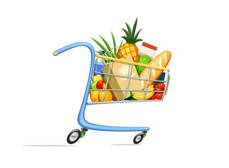 Panier avec de la nourriture. Équipement de supermarché pour l'achat de produits. Chariot de magasin. Fond blanc isolé. Illustration vectorielle Eps10. Vecteurs