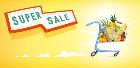 supermarket: Shopping cart with foodstuff. Supermarket equipment for buying products. Shop trolley. Yellow background. Vector illustration.