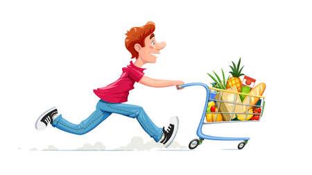Ragazzo in esecuzione con carrello del prodotto. Shopping nel supermercato. Personaggio dei cartoni animati con carrello delle derrate alimentari. Sfondo bianco isolato