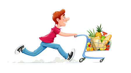 Running boy with product cart. Shopping in supermarket. Cartoon character with foodstuff trolley. Isolated white background