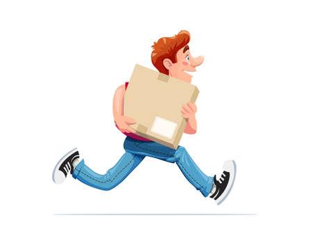 Running boy carry box. Dostawa. Postać z kreskówki. Pojedyncze białe tło. Eps10 ilustracji wektorowych.