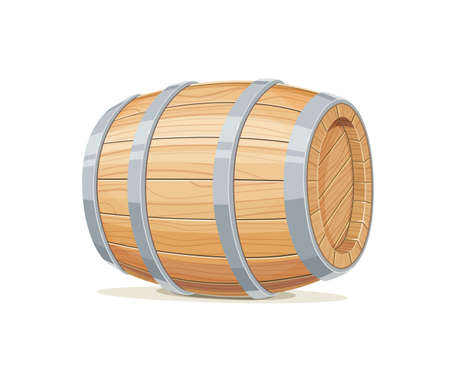 Horizontal wooden barrel for wine or beer.
