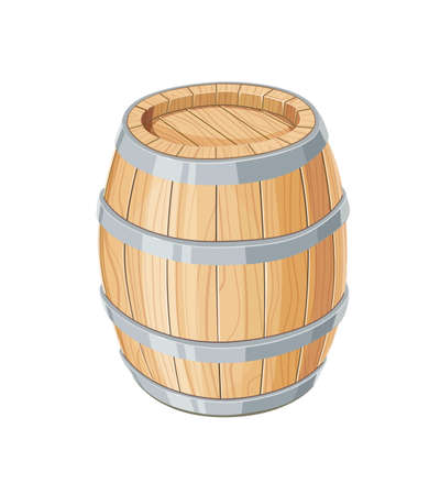 Vertical Wooden barrel for wine or beer. Container beverage. Vintage oak Cask. Isolated white background. Vector illustration. 向量圖像