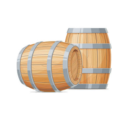 Dos Barril de madera para vino o cerveza. Bebida de contenedor Barrica de roble de la vendimia Fondo blanco aislado. Foto de archivo - 83673694