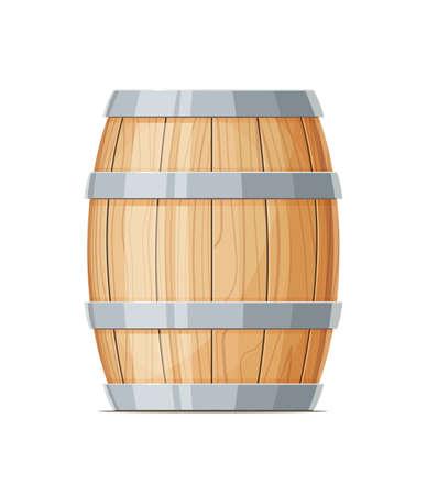 세로 와인 또는 맥주 나무 배럴입니다. 컨테이너 음료입니다. 빈티지 오크통입니다. 격리 된 흰색 배경입니다. 벡터 일러스트 레이 션.