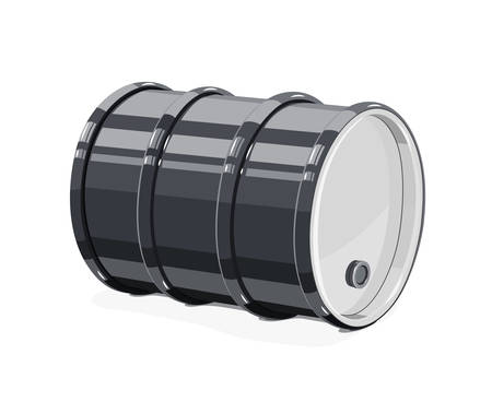 Black metal barrel for oil, isolated white background.