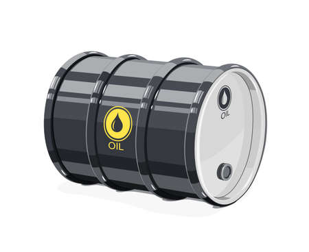 Black metal barrel for oil vector illustration. Çizim