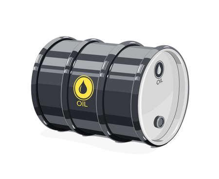 Black metal barrel for oil vector illustration. Stock Illustratie
