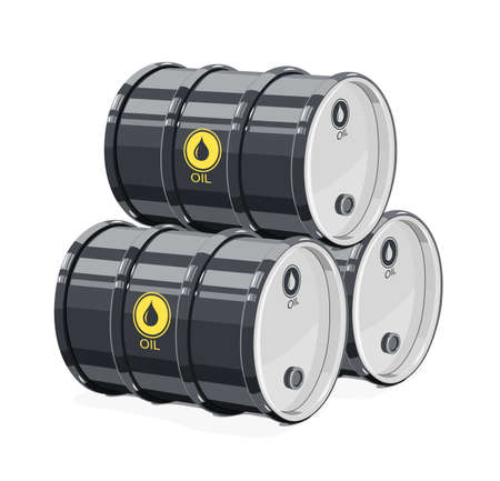Three Black metal barrel for oil. Equipment transportation fuel. Isolated white background. Vector illustration.