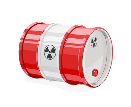 Red metal barrel for toxic and radioactive waste. Equipment for transportation poisonous liquid.