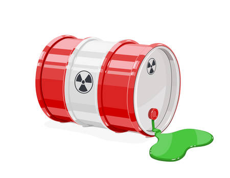 Red metal barrel for toxic and radioactive waste. Equipment for transportation poisonous liquid. Isolated white background. Vector illustration.