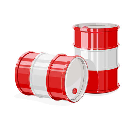 Two Black metal barrel for oil. Equipment for transportation fuel. Ilustração