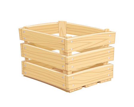 Wooden box. Pack Equipment for transportation cargo. Isolated white background. Eps10 vector illustration.