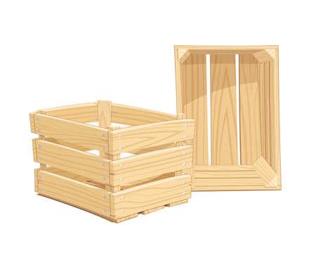 木製の箱。輸送貨物の機器をパックします。孤立した白い背景
