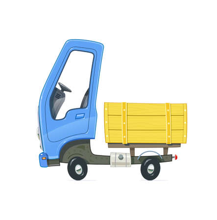 Kleiner Lastwagen. Lastwagen mit blauer Kabine. Cartoon Auto. Lieferung Transport. Getrennter weißer Hintergrund. Eps10-Vektor-Illustration. Standard-Bild - 84290324