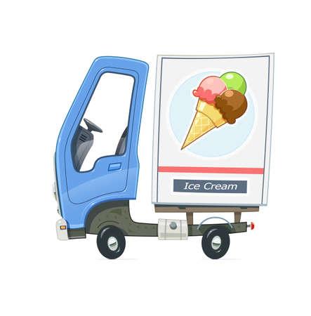 Kleine vrachtwagen koelkast voor bezorgijsijs. Vrachtwagen met blauwe cabine. Cartoon auto-vriezer. Vervoer. Geïsoleerde witte achtergrond. Vector illustratie.